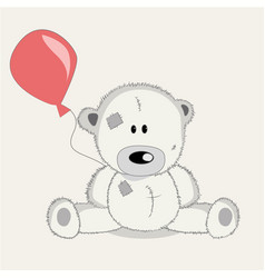 Greeting card bear with baloons vector