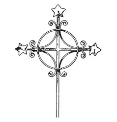 Medieval steeple cross vintage vector