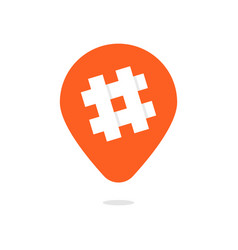 orange pin with hashtag icon vector image vector image