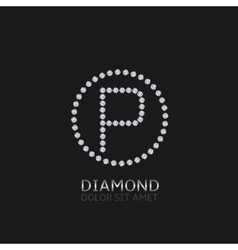 P letter with diamonds vector