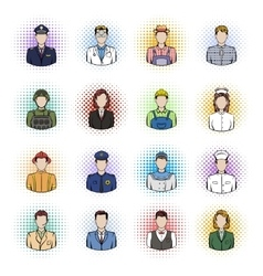 Profession comics icons set vector image vector image
