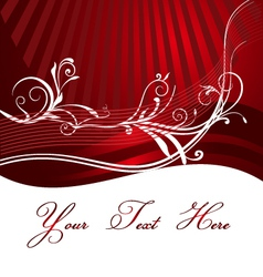 Red Background with floral design vector image vector image