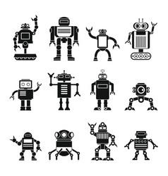 robots set in cartoon flat design vector image vector image
