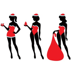 santa girl silhouette vector image vector image