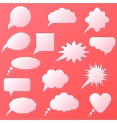 Speech bubble set isolated in pink background vector