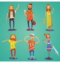Subculture hipster people cartoon figures set vector
