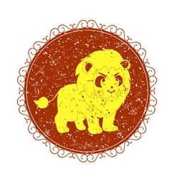 Vintage sign with lion vector