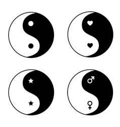 Set of ying yang symbols vector