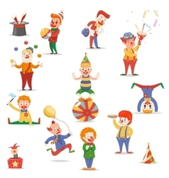 Circus Clowns Cute Funny Different Positions and vector image
