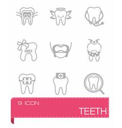 Teeth icon set vector