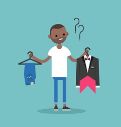 Difficult choice young black man trying to decide vector