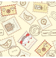 Seamless pattern with christmas post stamps vector
