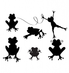 Cute frogs silhouette vector