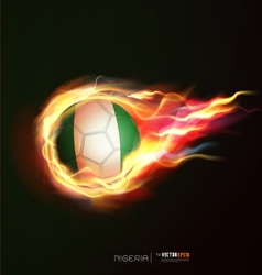 Nigeria flag with flying soccer ball on fire vector