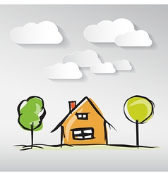 Hand drawn house with paper clouds and trees vector