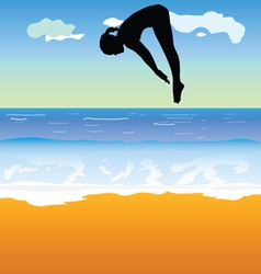 Girl jump into the sea vector