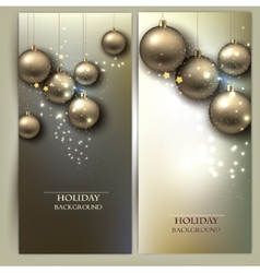 Christmas banners with balls golden xmas baubles vector
