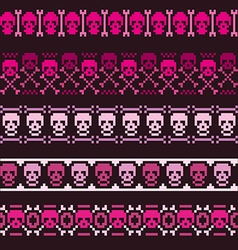 Borders with pixel skulls vector