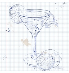 Cosmopolitan on a notebook page vector