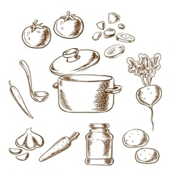 Cooking vegetarian soup with ingredients vector