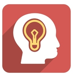 Head idea bulb flat rounded square icon with long vector