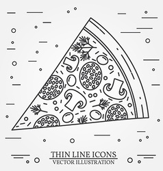 Thin line icon pizza for web design and vector