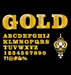 Alphabet in luxury gold design uppercase letters vector