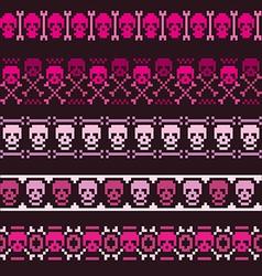 Borders with pixel skulls vector