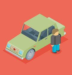 Car isometric with man vector