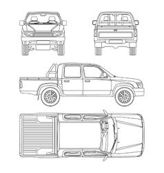 Car pickup truck 5 passengers vector