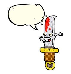 Cartoon frightened knife with speech bubble vector