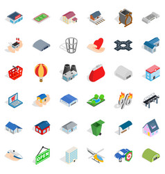 City house icons set isometric style vector