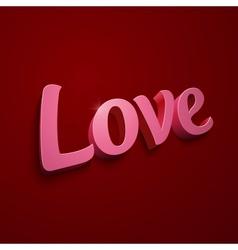 Crimson realistic plastic love sign vector