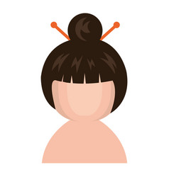 cute little shirtless japanese doll vector image