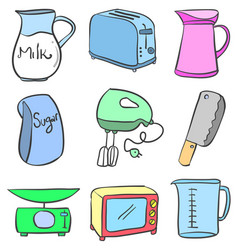 Doodle of kitchen equipment vector