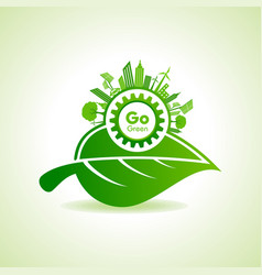 Eco energy concept with leafcityscape and gear vector
