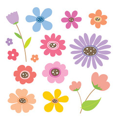 Flower cartoon cute color vector