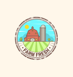 Fresh farm badge label or sign in vintage style vector