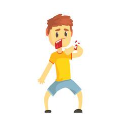 frightened boy with broken hand with blood cartoon vector image vector image