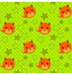 Funny seamless pattern with cute fox faces vector
