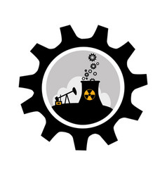 Gear wheel border with background silhouette oil vector