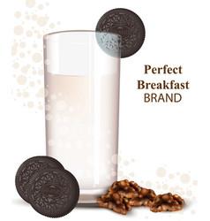 glass of milkshake with chocolate cookies vector image vector image