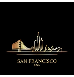 Gold silhouette of San Francisco on black backgrou vector image vector image