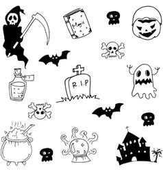 Halloween hand draw doodle set vector