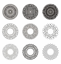 Hand drawn ethnic circles ink collection of vector