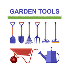 Isolated garden tools with grass vector