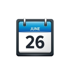 June 26 calendar icon flat vector