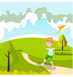 kid playing with kite vector image vector image
