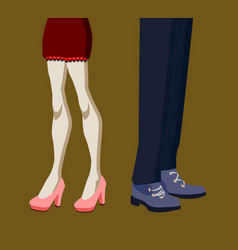 Man and woman legs in quarrel position vector