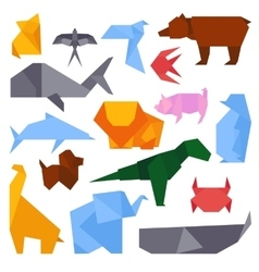 Origami style of different animals vector